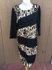 New $149 RARE Chico's Spliced Animal Jordan Black Neutral Dress 3 = XL 16 18 NWT
