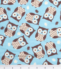 Flannel Fabric OWLS ON TURQUOISE Pattern 3 yds X 42 in 100% Cotton