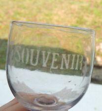 """Ancien verre gravé """"Souvenir """" décor de fleurs  - collection - vintage"""