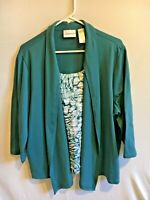Women's Alfred Dunner Green Blue 2-in-1 Jacket Tank Top Size Large 3/4 Sleeve