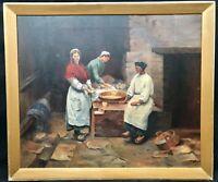 1900s Cornish / St Ives school interior scene of breadmakers signed E Parr