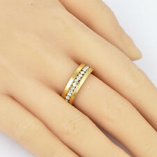Womens 18K Yellow Gold Filled Clear CZ Lot Band Ring Size 7 Wedding