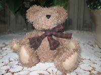 Boyds Brown Teddy Bear Plush Jointed Plaid Bow 9 Inch J.B. Bean Series 1999