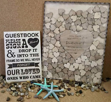Wedding Guest Book  Drop Box with 100 Hearts and Sign