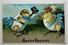 Easter Fantasy Humanized Dressed Chicks in Eggs & Hats Embossed Postcard
