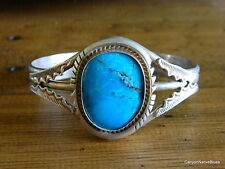 Old Pawn Sterling Silver Beautiful Turquoise Navajo Cuff Bracelet SIGNED DS