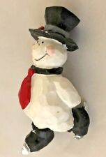 "White Black 3.5"" Skating Snowman Ornament Figurine"