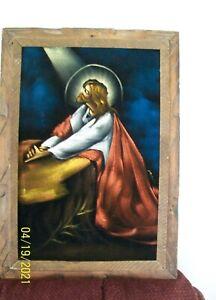 Vintage JESUS PRAYING Black Velvet Oil Painting Mexico Framed 21 x 15 inch