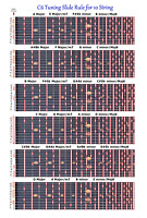 C6TH TUNING SLIDE RULE CHART FOR 10 STRING STEEL GUITAR - LAP PEDAL STEEL