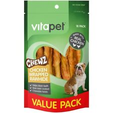 VitaPet Chewz Dog Treats Chicken Wrapped Rawhide Twists 18 Pack