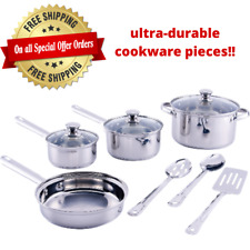 Cookware Set Stainless Steel Kitchen Tools Pots Pans Bowls 10 Pieces New