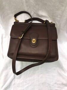 Vintage USA Made COACH Dark Brown Leather WILLIS Crossbody Satchel Bag 9927