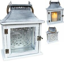 Lantern Candle Holder Rustic White Shabby Chic French Provincial Hampton Beach