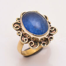 Natural Blue Jade Gemstone Ring Size US 7, Handmade Antique Brass Jewelry BRR151