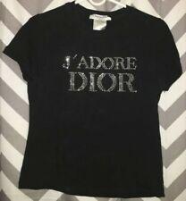 EUC CHRISTIAN DIOR J'ADORE DIOR vintage black embellished S/S logo T-shirt szM