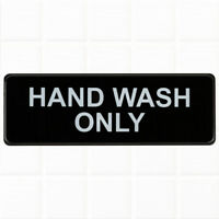 Hand Wash Only Sign - Black and White, 9 x 3-inches Hand Wash Only Sink Sign