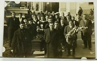 RPPC Funeral Large Group All Men Unique Casket One Sailor Real Photo Postcard I3