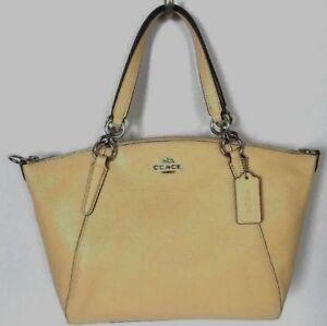 New Coach F31075 small Kelsey Pebble Leather Satchel handbag Vanilla (Yellow)