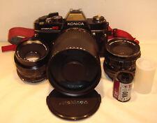 Konica AutoReflex TC 35mm SLR Film Camera with extras