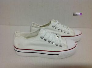 scarpe sneakers basse uomo in tela bianche fondo bianco ross