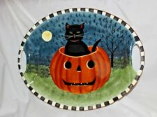SAKURA PUMPKIN HOLLOW LARGE OVAL PLATTER BLACK CAT IN PUMPKIN DAVID CARTER BROWN