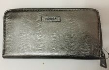 NWT DKNY SLGS EMBOSSED METALLIC LEATHER WALLET CLUTCH GUNMETAL $105