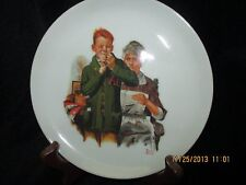 """Norman Rockwell Decorative Collector Plate """"Helping Mother"""" Boy Threading Needle"""