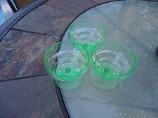 Vintage Vaseline Green Depression Glass Sherbet /Dessert Dishes
