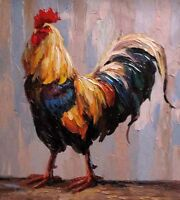 Art Oil painting beautiful impressionism animal poultry cock Hand painted canvas