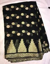 Black Gold Sari Indian Saree Bollywood Fabric Panel Drape
