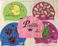 Youth Girl's Silicone Swim Shower Cap Hat Princess, Lady Bug, Chick, Jelly Beans