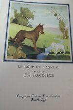 French Liner Liberte Luncheon Menu 1957  La Fontaine Fable Le Loup et L Agneau