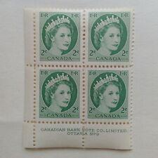 Queen Elizabeth II 1954 Canadian Plate Block No. 9n of STAMPS
