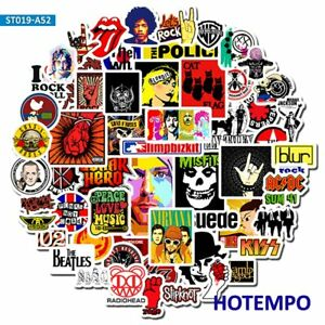 52PCS  Rock and Roll Punk Music Band Stickers for Mobile Phone Laptop Luggage