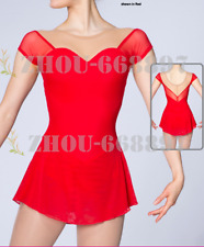 competition ice figure skating dress girl's spandex red unbeaded