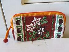 WOMENS IPA-NIMA ORANGE SATIN/MULTI-FLORAL BEADING ZIP-AROUND COSMETIC POUCH
