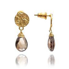 Azuni Jewellery Athena Princess Kate Gold GEMSTONE Drop Earrings Smoky Quartz