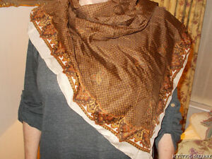 TRUE VINTAGE PAISLEY BROWN POLYESTER SCARF MADE IN ITALY