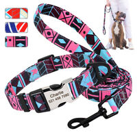 Personalised Nylon Dog Collar and Lead Custom Pet Name Tag for Small Large Dogs