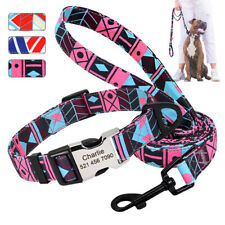 Nylon Personalized Dog Collar and Leash Engraved ID Name Custom Small Large Dogs