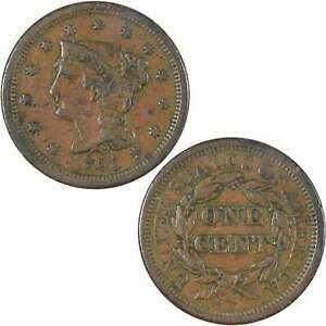 1855 Upright 5's Braided Hair Large Cent VF Very Fine Copper Penny 1c US Coin