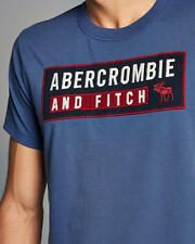 Abercrombie & Fitch T-Shirt Men's Applique Logo Graphic Tee Shirt L Blue NWT