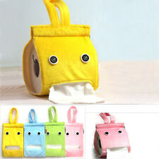 1X Cartoon Tissue Box Hanging Napkin Holder Cover Roll Paper Bag Car Toilet NEW