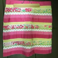 LILLY PULITZER NWOT SIZE 8  PINK AND YELLOW GROGRAIN FLORAL SKIRT