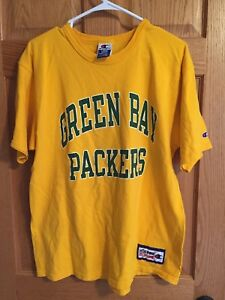 Vintage Men's Champion Green Bay Packers Shirt Size L Yellow Pro Line 90's