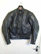 VINTAGE 80'S BKS LEATHER POLICE MOTORCYCLE JACKET SIZE M CE APPROVED ARMOUR