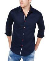 INC Mens Shirt Navy Blue Size 2XL Button Down Evan Striped Poplin $65 186