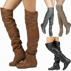 Women's Over Knee High Slouch Boots Flats Round Toe Casual Shoe Plus Size US4-13