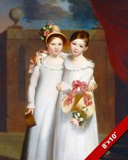 TWO YOUNG SISTERS IN WHITE DRESSES EARLY 1800'S PAINTING ART REAL CANVAS PRINT