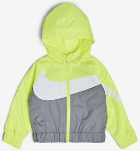 Nike Boys Sz 7 (L) Windbreaker Full Zip Hooded Jacket NWT Lemon Venom MSRP $60